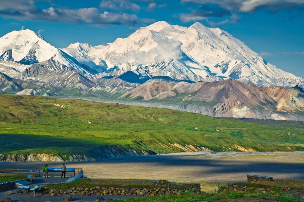 Stock Photo: 4289-13365 Visitors view Mt. McKinley from a interpretative display at Eielson Visitor Center, Denali National Park & Preserve, Interior Alaska, Summer