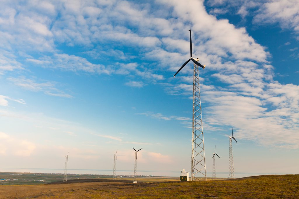 Wind turbines on Wind Mountain above Nome, Seward Peninsula, Arctic Alaska, Summer : Stock Photo