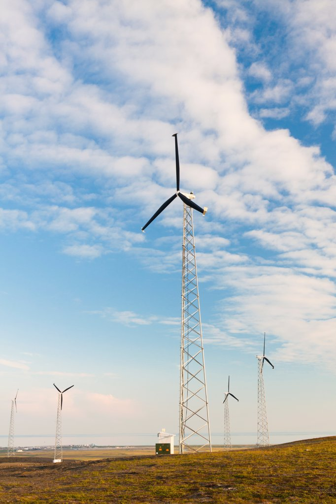 Stock Photo: 4289-13417 Wind turbines on Wind Mountain above Nome, Seward Peninsula, Arctic Alaska, Summer