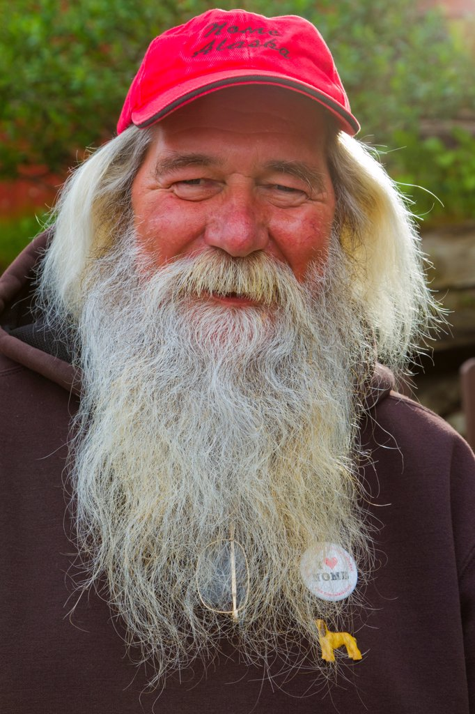 Stock Photo: 4289-13433 Portrait of local prospector in Nome, Seward Peninsula, Arctic Alaska, Summer