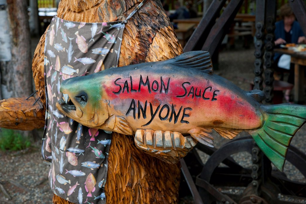 Wood sign at salmon bake in Pioneer Park, Fairbanks, Interior Alaska, Summer : Stock Photo