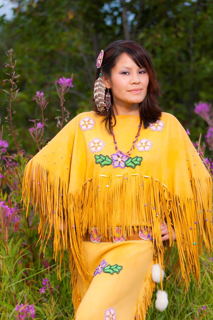 Stock Photo: 4289-13453 Female Athabascan dancer at the Morris_Thompson Visitor Center, Fairbanks, Interior Alaska, Summer