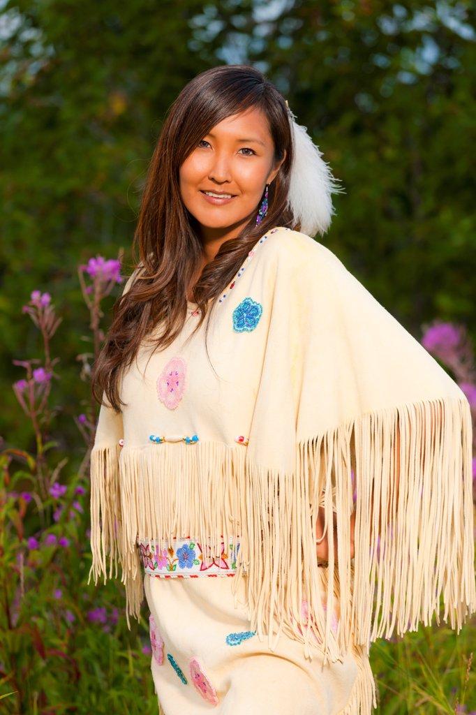 Female Athabascan dancer at the Morris_Thompson Visitor Center, Fairbanks, Interior Alaska, Summer : Stock Photo