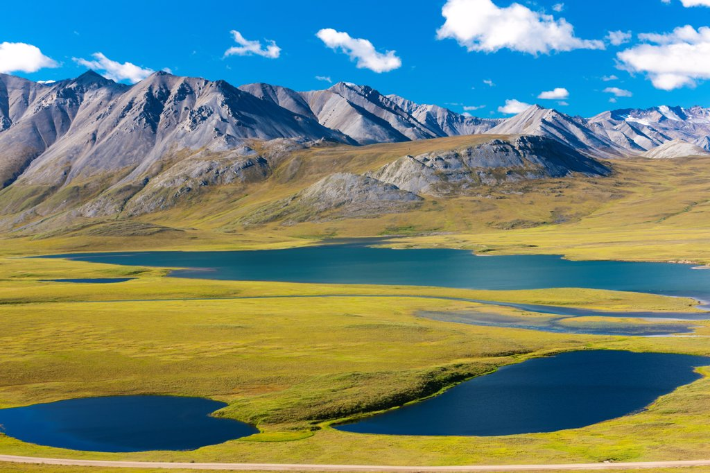 Stock Photo: 4289-13465 Scenic view of the north slopes of the Brooks Range and Gailbraith Lakes off Dalton Highway, Arctic Alaska, Summer