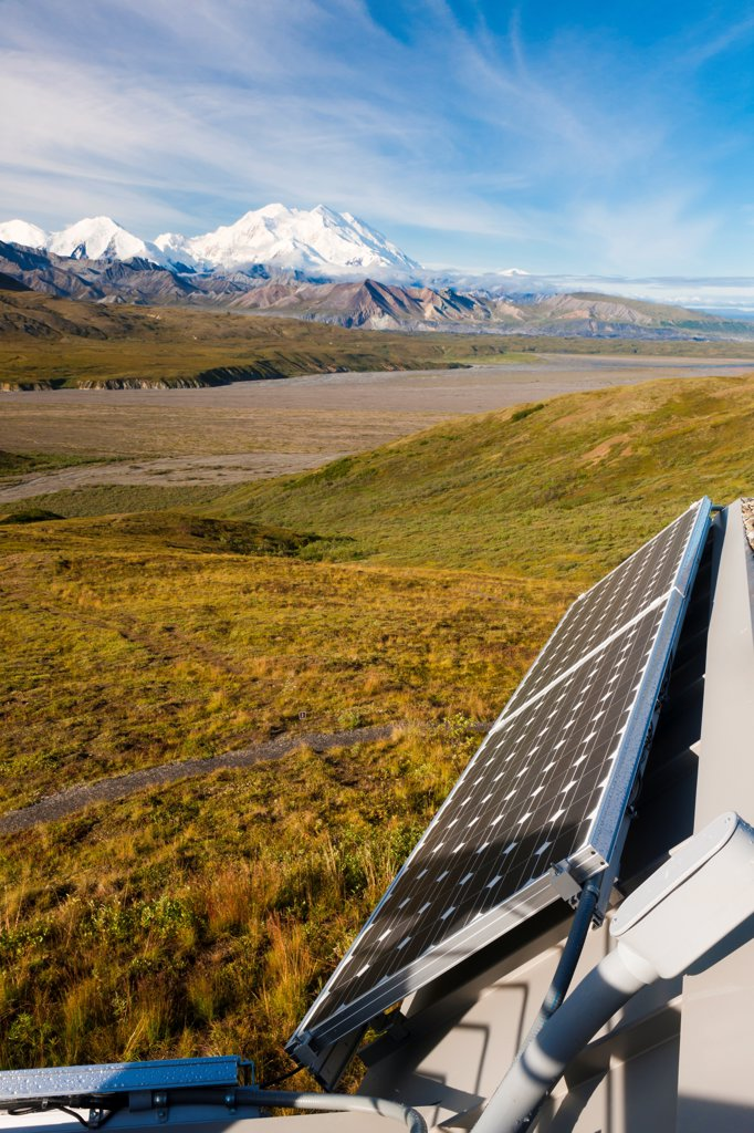 Stock Photo: 4289-13498 Solar panels on Eielson Visitor Center and Mt. McKinley in the background, Denali National Park & Preserve, Interior Alaska, Summer