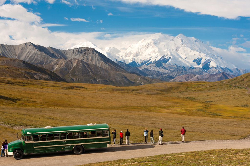 Stock Photo: 4289-13502 Park shuttle bus passengers looking at Mt. McKinley from Stony Hill, Denali National Park & Preserve, Interior Alaska, Summer