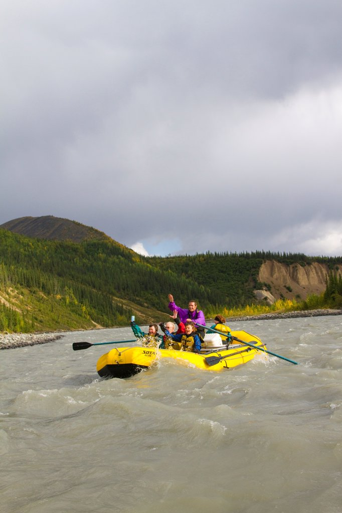 Stock Photo: 4289-13510 Guided raft trip on the upper Nenana River, Denali National Park & Preserve, Interior Alaska, Autumn