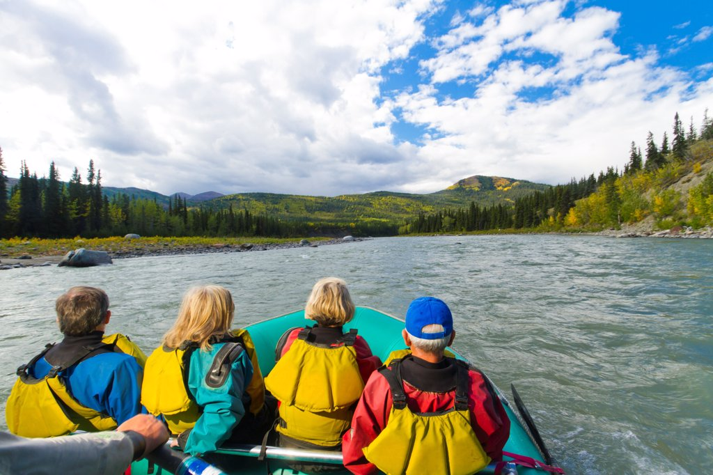Stock Photo: 4289-13512 Guided raft trip on the upper Nenana River, Denali National Park & Preserve, Interior Alaska, Autumn