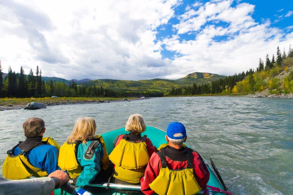 Guided raft trip on the upper Nenana River, Denali National Park & Preserve, Interior Alaska, Autumn : Stock Photo