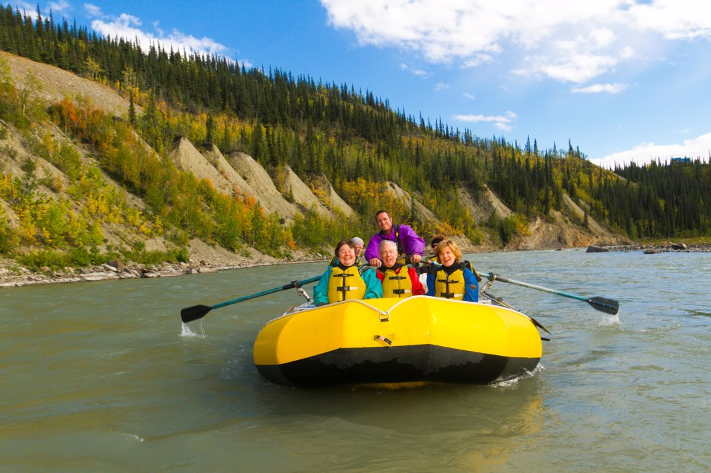 Guided raft trip on the upper Nenana River, Denali National Park & Preserve, Interior Alaska, Autumn : Stock Photo