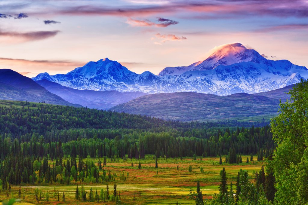 Stock Photo: 4289-13584 Scenic view of Mt. McKinley and Mt. Hunter seen from Susitna Valley along Petersville Road, Southcentral Alaska, Summer, HDR