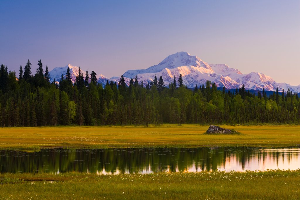 Stock Photo: 4289-13585 Scenic view of Mt. McKinley and Mt. Hunter seen from a pond in Susitna Valley along Petersville Road, Southcentral Alaska, Summer