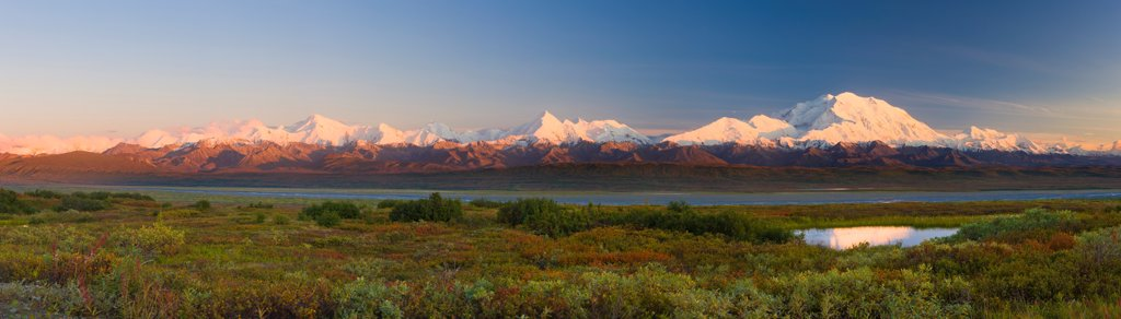Stock Photo: 4289-13589 Panorama view of the Alaska Range and Mt. McKinley near Grassy Pass at sunset, Denali National Park & Preserve, Interior Alaska, Autumn