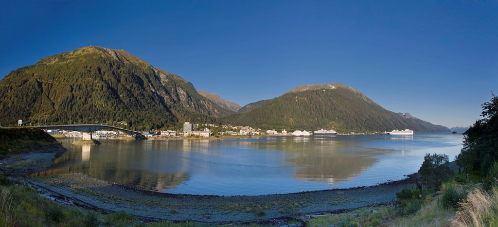 Stock Photo: 4289-13597 View of downtown Juneau from Douglas Island, Southeast Alaska, Summer