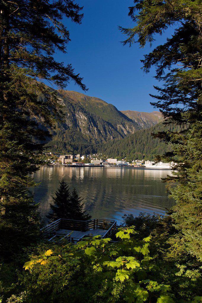 View of downtown Juneau from Douglas Island, Southeast Alaska, Summer : Stock Photo