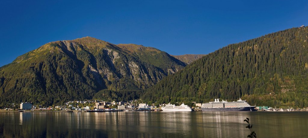Stock Photo: 4289-13600 View of downtown Juneau from Douglas Island, Southeast Alaska, Summer