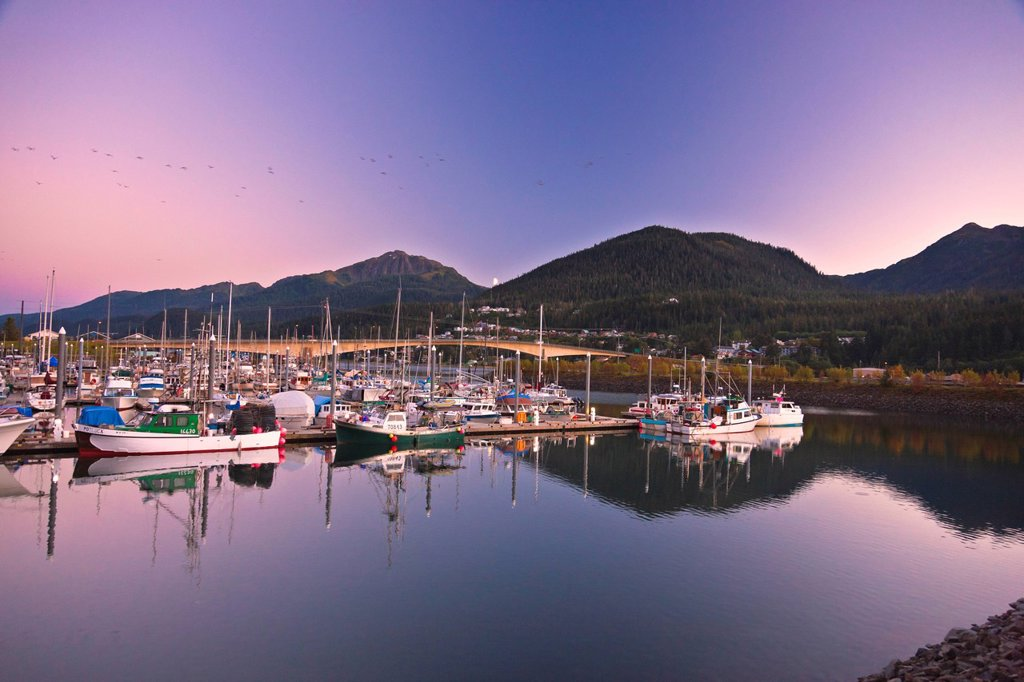 Stock Photo: 4289-13603 Moonrise over Douglas Island and Harris Harbor at sunset, Juneau, Southeast Alaska, Summer