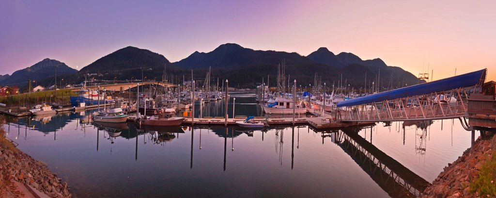 Stock Photo: 4289-13606 Moonrise over Douglas Island and Harris Harbor at sunset, Juneau, Southeast Alaska, Summer