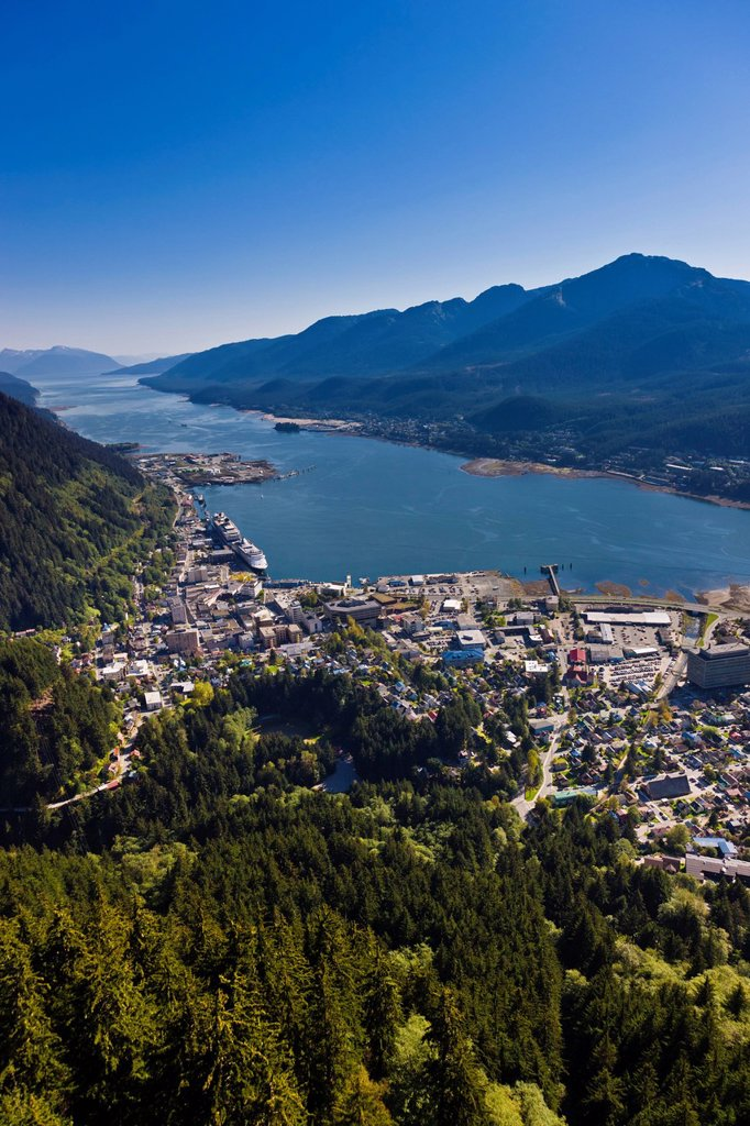 Stock Photo: 4289-13619 Aerial view of downtown Juneau and Lynn canal looking South over the Gold Creek Valley, Southeast Alaska, Summer