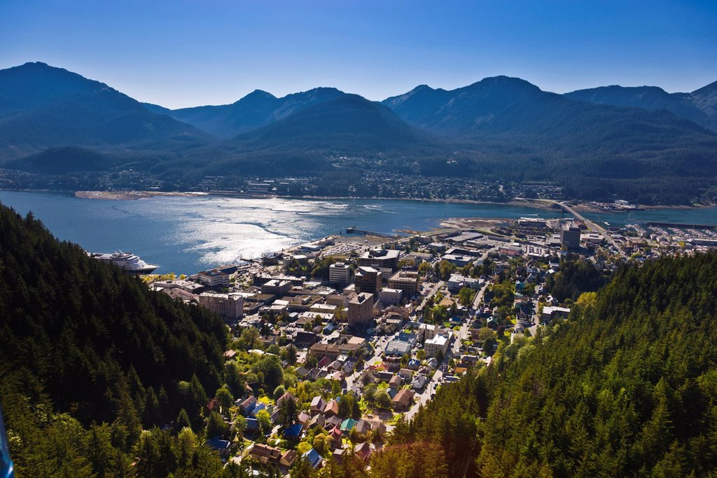 Aerial view of downtown Juneau and Lynn canal looking South over the Gold Creek Valley, Southeast Alaska, Summer : Stock Photo