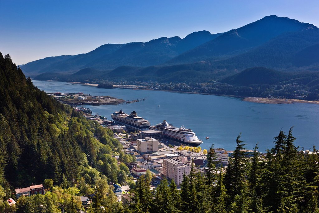Stock Photo: 4289-13621 Aerial view of downtown Juneau and Lynn canal looking South over the Gold Creek Valley, Southeast Alaska, Summer