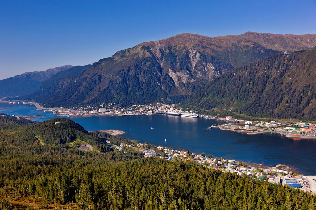 Aerial view looking from above Douglas Island towards Lynn canal and downtown Juneau, Southeast Alaska, Summer : Stock Photo