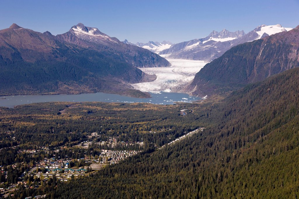 Stock Photo: 4289-13633 Aerial view looking across the Gold and Granite creek drainages towards Mendenhall Glacier, Juneau, Southeast Alaska, Summer