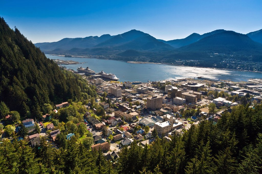 Aerial view of downtown Juneau and Lynn canal looking West, Southeast Alaska, Summer : Stock Photo