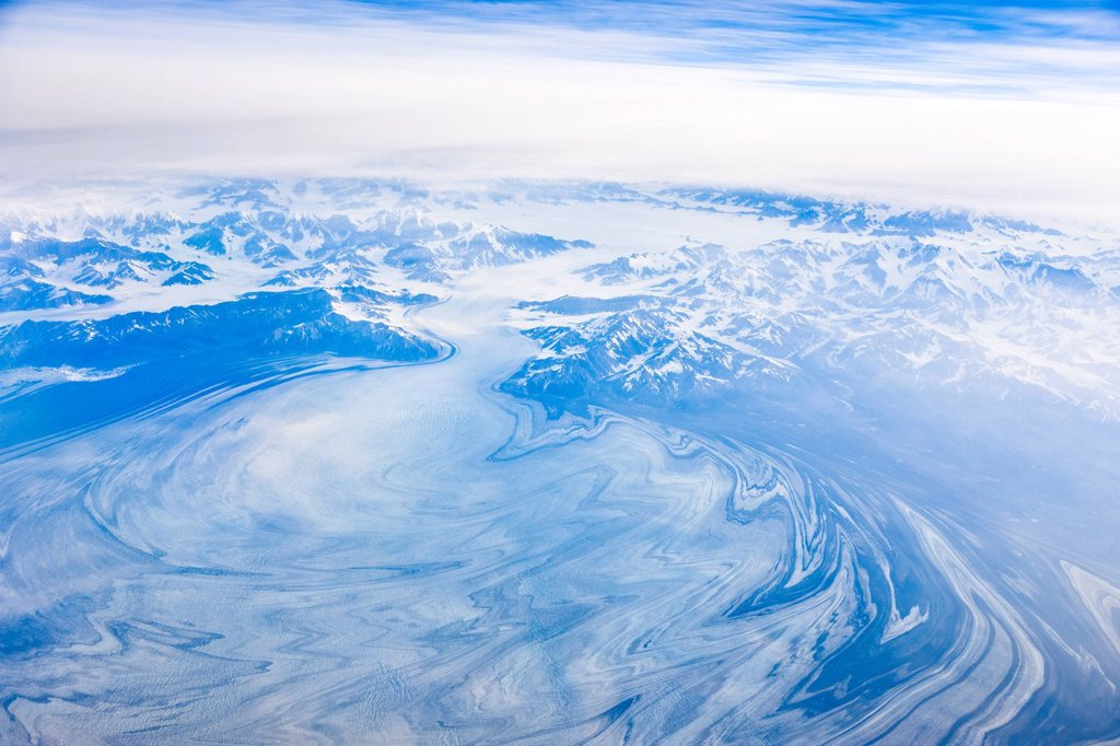 Stock Photo: 4289-13652 Aerial a glacier north of Juneau, Southeast Alaska, Summer