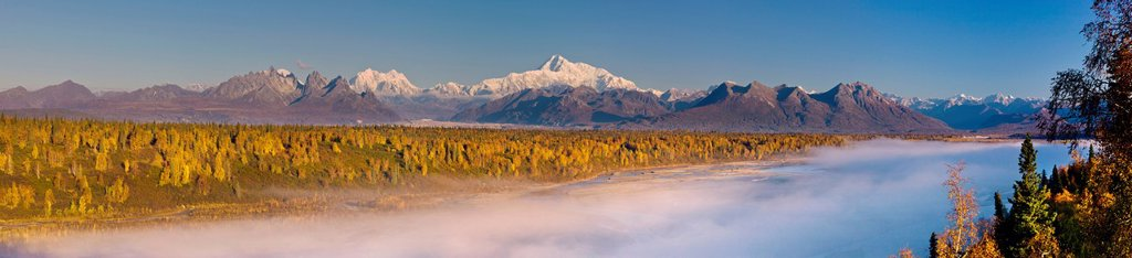 Stock Photo: 4289-13676 Scenic morning view of fog in the Chulitna River valley with Mt. McKinley in the background, Denali State Park, Southcentral Alaska, Autumn