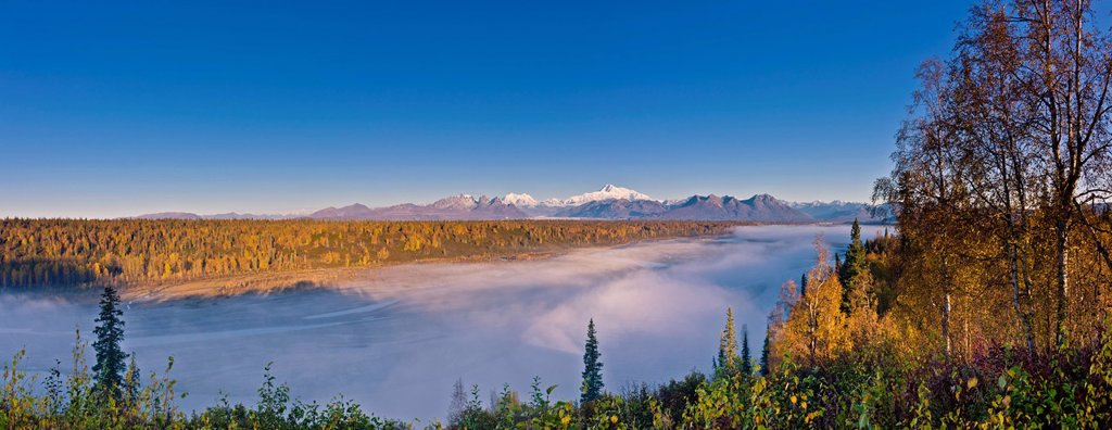 Scenic morning view of fog in the Chulitna River valley with Mt. McKinley in the background, Denali State Park, Southcentral Alaska, Autumn : Stock Photo