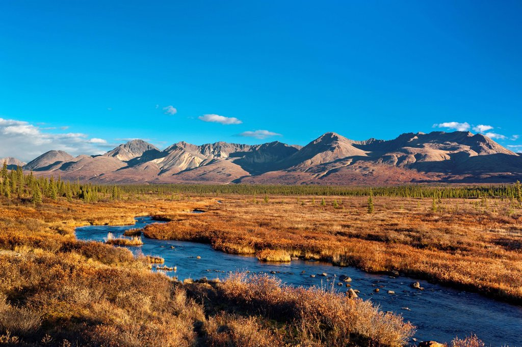 Stock Photo: 4289-13692 Scenic mountain landscape with a creek in the foreground seen from the Denali Highway, Southcentral Alaska, Autumn