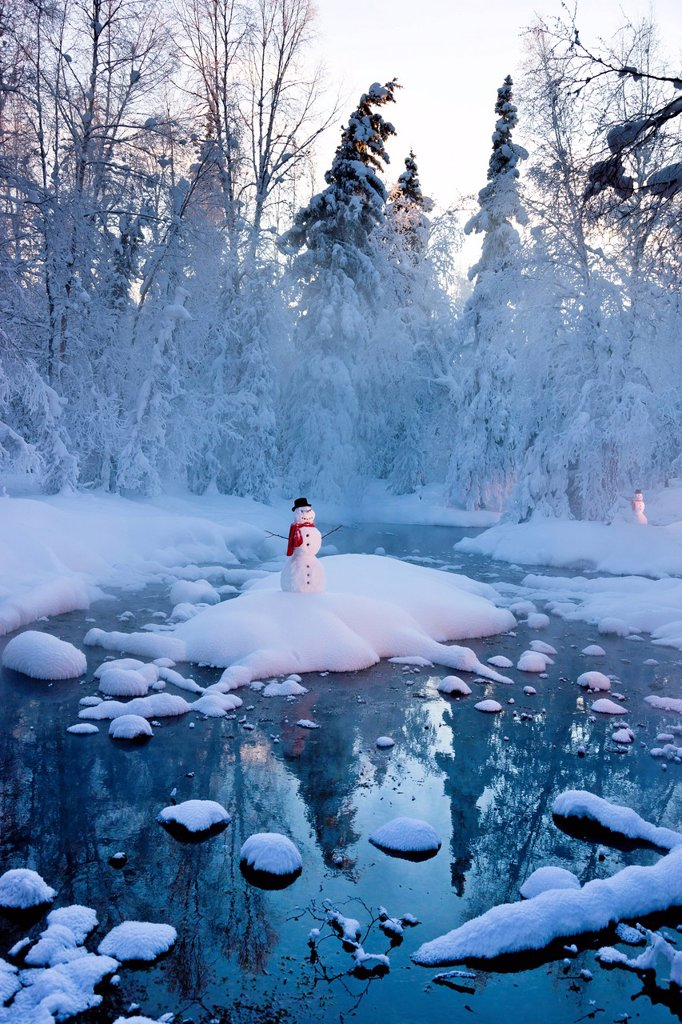 Stock Photo: 4289-13766 Snowman standing on a small island in the middle of a stream with fog and hoar frosted trees in the background, Russian Jack Springs Park, Anchorage, Southcentral Alaska, Winter. Digitally enhanced.
