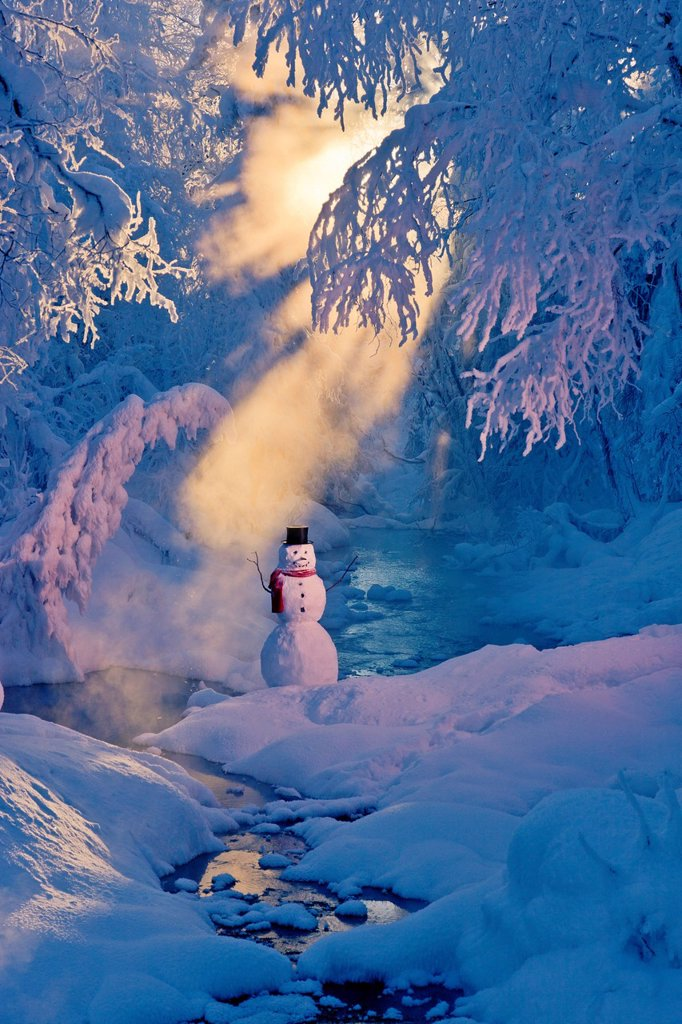 Stock Photo: 4289-13769 Snowman standing next to a stream with sunrays shining through hoar frosted trees in the background, Russian Jack Springs Park, Anchorage, Southcentral Alaska, Winter. Digitally enhanced.