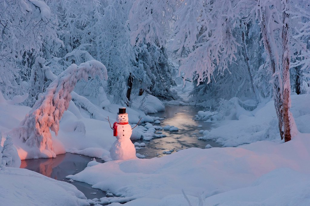 Stock Photo: 4289-13775 Snowman wearing a black scarf and top hat standing next to a small stream in a hoarfrost covered forest at twilight, Russian Jack Springs Park, Anchorage, Southcentral Alaska, Winter. Digitally Enhanced.