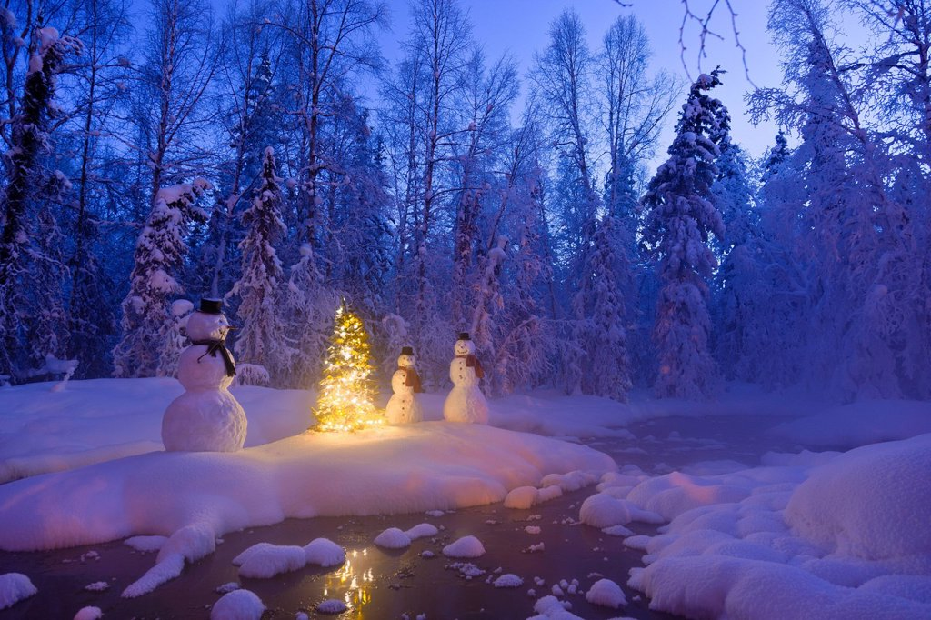 Stock Photo: 4289-13793 Snowman family standing next to a Christmas tree on a snow covered island in the middle of a small stream in a hoarfrost covered forest at twilight, Russian Jack Springs Park, Anchorage, Southcentral Alaska, Winter. Digitally enhanced