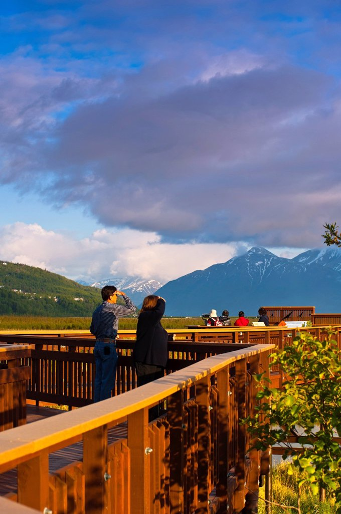 Visitors enjoy the view from the boardwalk at Potter Marsh with the Chugach Mountains in the background, Southcentral Alaska, Spring : Stock Photo