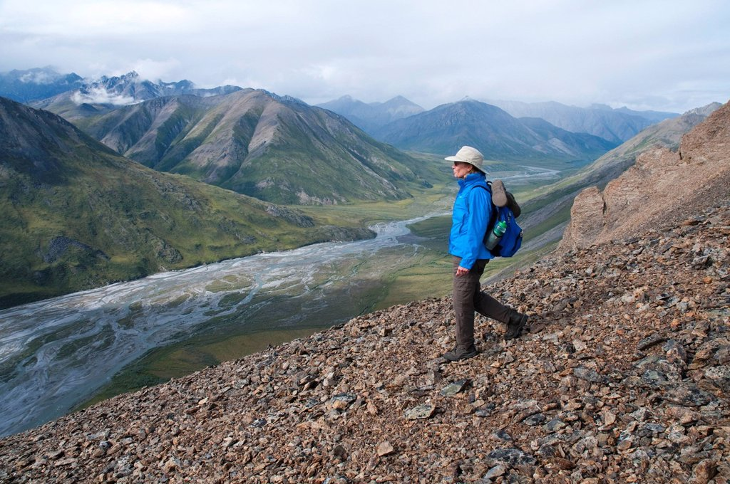Stock Photo: 4289-13872 Mature female hiker descends ridge above the Marsh Fork of the Canning River in the Brooks Range, Arctic National Wildlife Refuge, Alaska, Summer