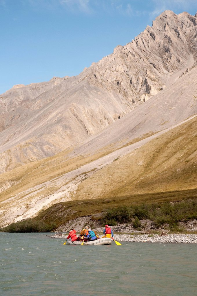 Stock Photo: 4289-13877 People rafting on the Marsh Fork of the Canning River in the Brooks Range, Arctic National Wildlife Refuge, Alaska, Summer