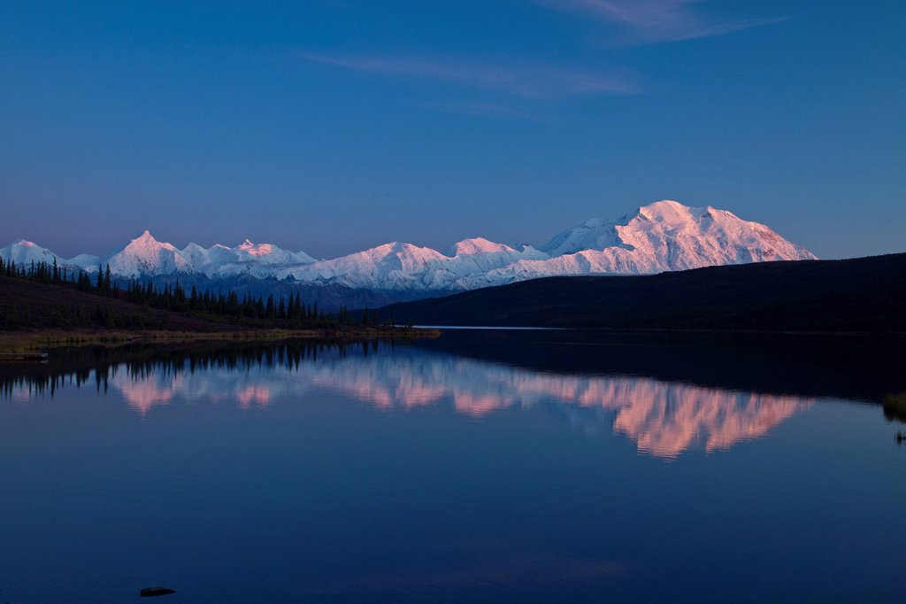 Stock Photo: 4289-14062 Sunset view of Mt. McKinley and Mt. Deception reflecting in Wonder Lake, Interior Alaska, Autumn