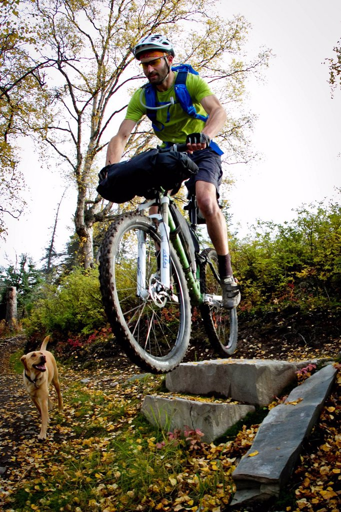 Stock Photo: 4289-14087 Man mountain biking over rocks, Anchorage hillside trails, Southcentral Alaska, Autumn
