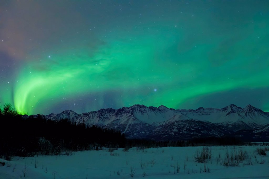 Stock Photo: 4289-14147 Aurora Borealis Northern Lights over the Knik River Valley and the Chugach Mountains, Southcentral, Alaska, Winter