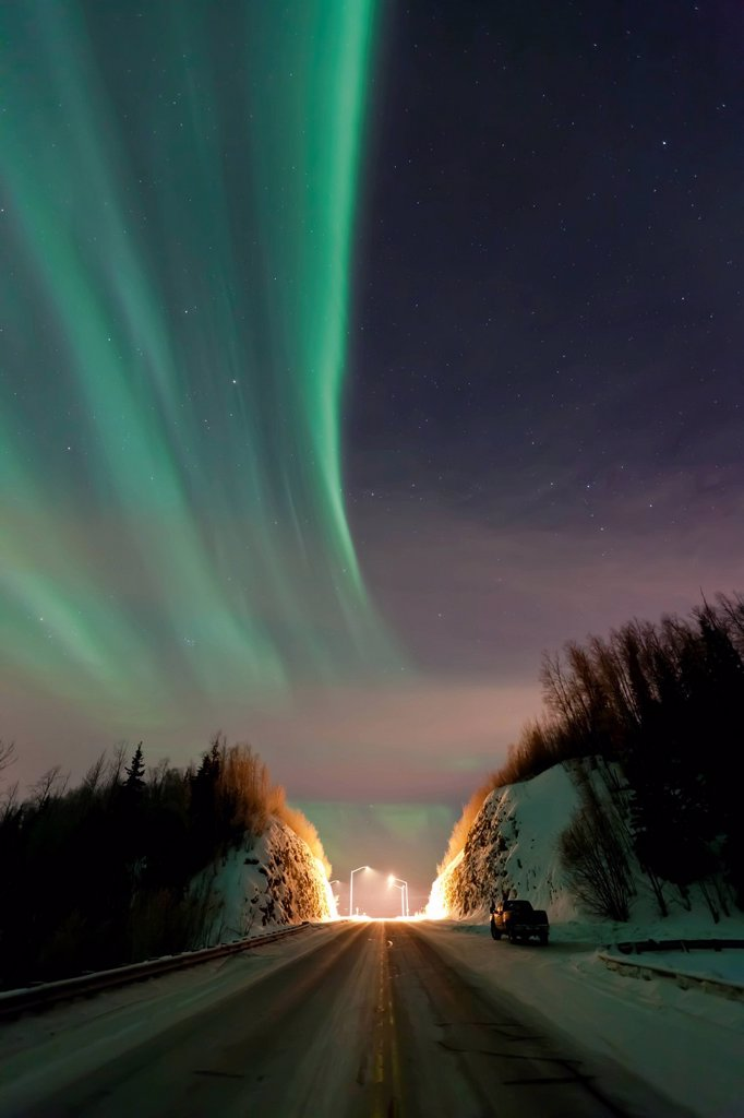 Stock Photo: 4289-14153 Aurora Borealis Northern Lights over the Old Glenn Highway in the Matanuska_Susitna Valley, Southcentral Alaska, Winter