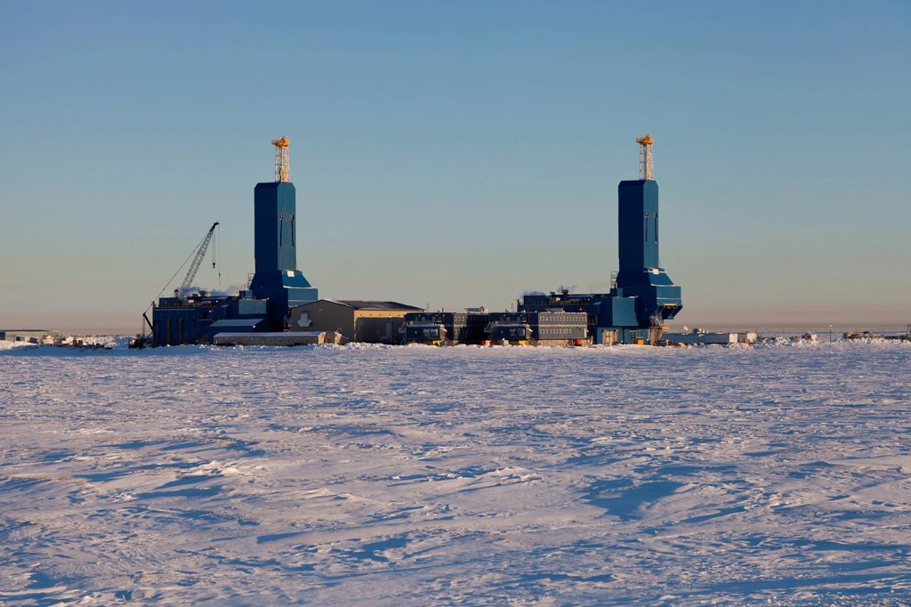 Stock Photo: 4289-14155 Two new Parker Drilling rigs in Deadhorse, Prudhoe Bay Oil Field, Arctic Alaska, Winter