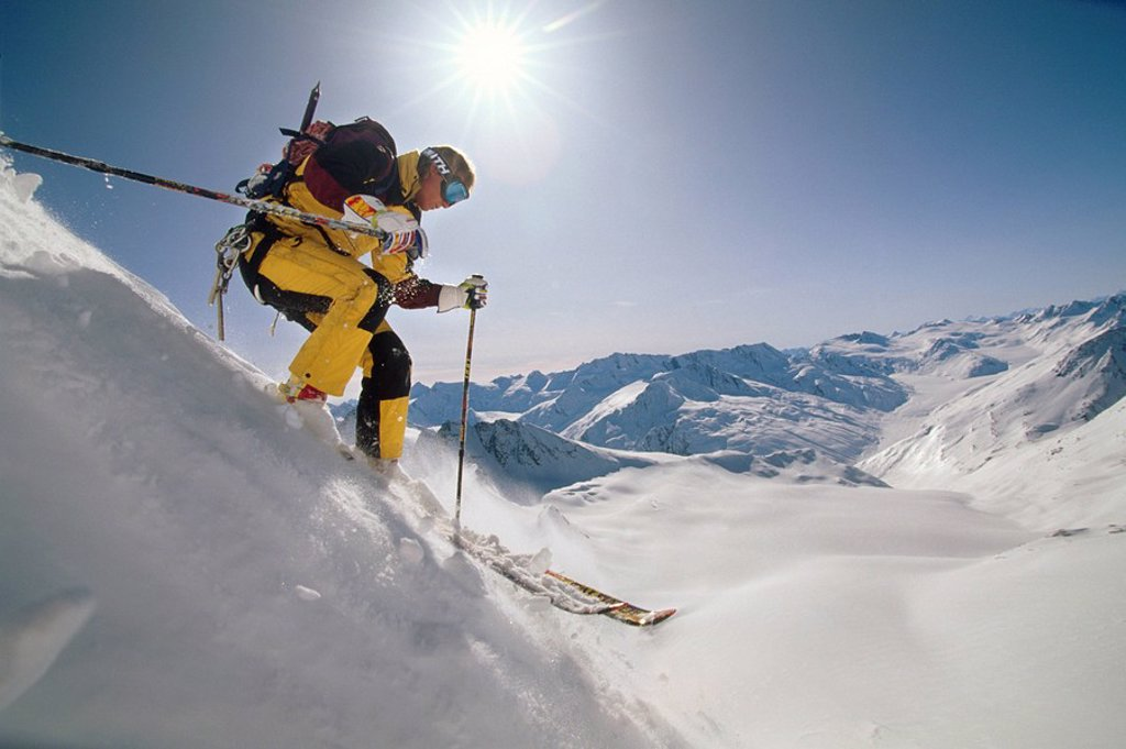 Stock Photo: 4289-14804 Man Downhill Skiing Chugach Mtns Southcentral Valdez AK Extreme Winter