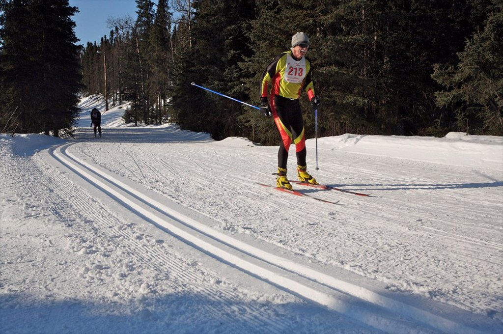 Skier on the trail during the Tour of Anchorage race, Alaska : Stock Photo