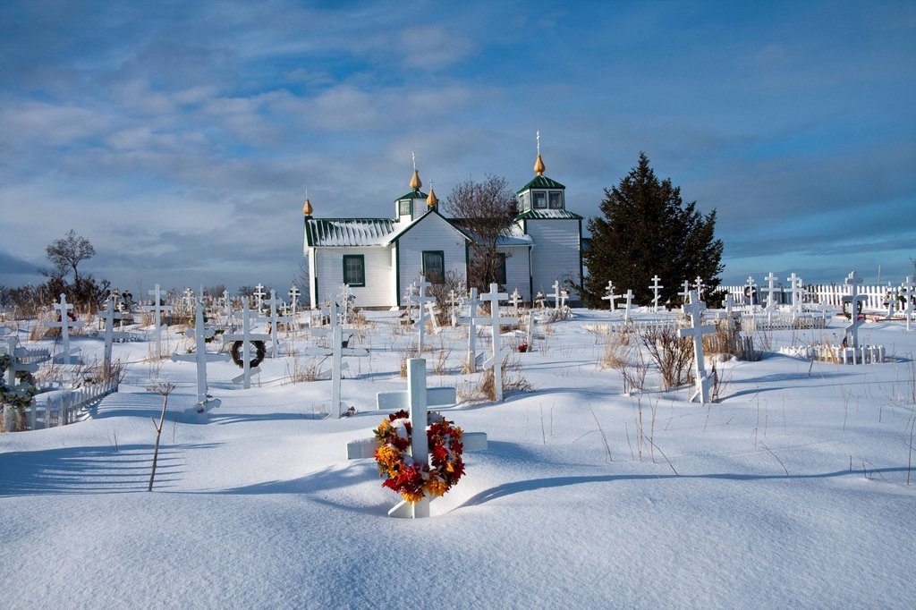 Stock Photo: 4289-24221 Our Lord Russian Orthodox Church in Ninilchik with the church cemetery in the foreground, Kenai Peninsula, Southcentral Alaska, Winter/n