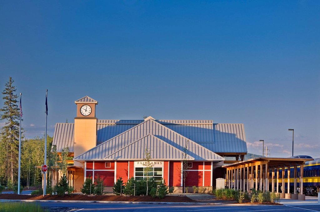 Stock Photo: 4289-24224 The Alaska Railroad terminal building in Fairbanks, Interior Alaska during Summer