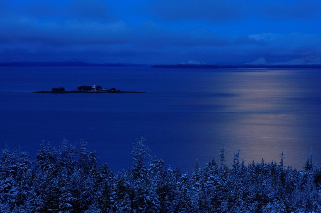 Stock Photo: 4289-24362 Twilight view of Guard Island lighthouse in Clarence Strait, Southeast, Alaska.