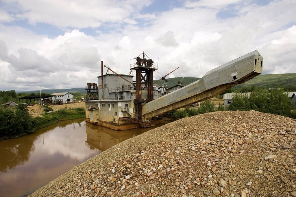 Goldstream Dredge 8 near Fox Alaska Interior summer : Stock Photo